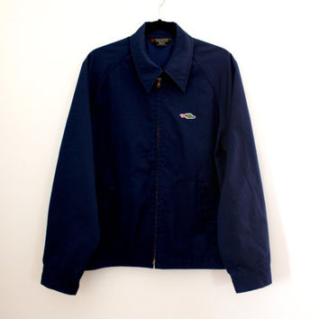 Vintage Men's Windbreaker Jacket - Navy Blue Jacket - Size Medium