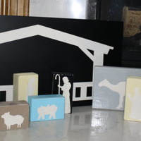 Wood Nativity Set, Wood Manger