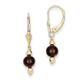14k 5-6 mm Coffee Brown Cultured Pearl & Bead Leverback Earrings
