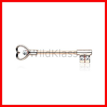 Rose Gold Heart Key Nipple Barbell Ring