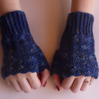 Midnight Blue Fingerless Gloves - Made from lightweight, hand-dyed yarn