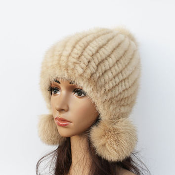 2016 New mink hat Ladies fashion Fox fur ball fur hat Mink knit hats Casual mink hat Female Headgear