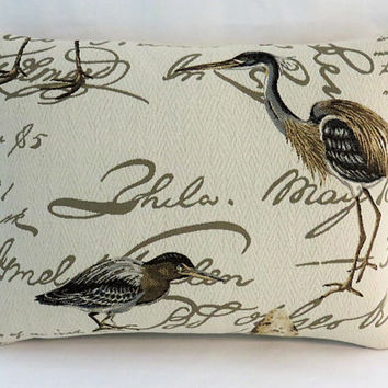 "Shorebirds Pillow, 13 x 17"", Cream Beige Brown Grey, Brocade w/ Script Cranes Egrets Sandpipers Eggs, Coastal Beach Decor, Bird Lovers Gift"