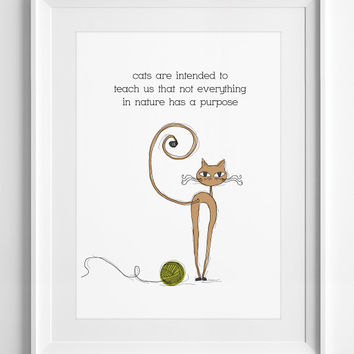 wall art - Cats are - wall decor - Quote Poster - Cat Illustration - Printable Quote - Digital Art - Typographys, ALL SIZE, A3