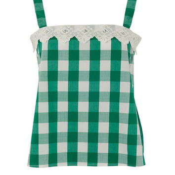 Green Picnic Check Strappy Top by Lowie