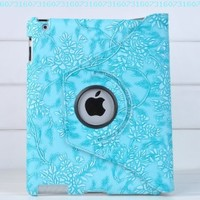 Ctech 360 Degrees Rotating Stand (Blue) Stylish Embossed Flowers Case for iPad 3 / The New iPad (3rd Generation) /iPad 2, Supports Smart Cover Wake/Sleep Function:Amazon:Computers & Accessories