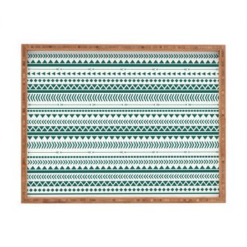 Allyson Johnson Teal Aztec Rectangular Tray
