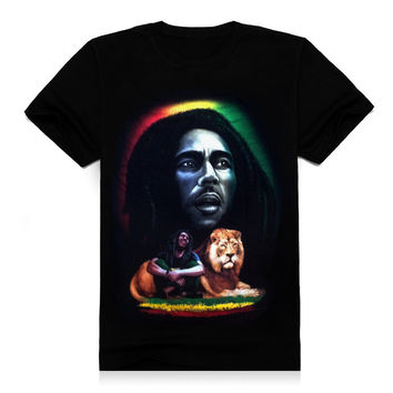 new 2015 summer 3d men t shirt short sleeve man 3d reggae Rock Bob Marley & Lion Printing design cotton T shirt T83