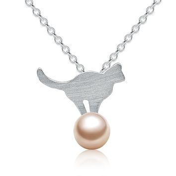 Pure Silver Necklace Lovely Cute 925 Silver Cat & Shell-Pearl Pedant Necklaces For Women Sterling Silver Jewelry Girls Necklace
