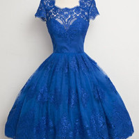 Royal Blue Knee Length Lace Prom Dresses,Prom Dress