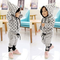 Fashion Children Star Print Clothing Set Baby Boy Hooded Tops + Pants Suits  Children's clothes SV010624|26601 = 1745493828