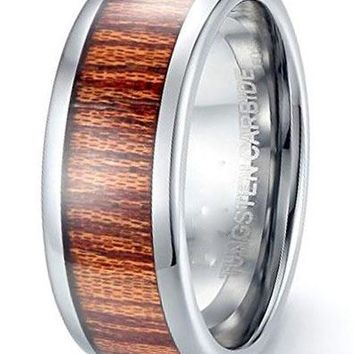 CERTIFIED 8MM Tungsten Carbide Wood Inlay Dome Vintage Wedding Band Ring