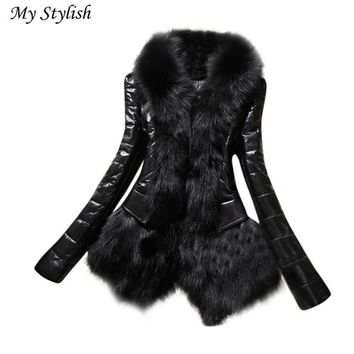 Size S-XXXL Black New Designer Women Winter Warm Fur Collar Coat Leather Thick Lady Jacket Overcoat Parka High Quality Dec 6