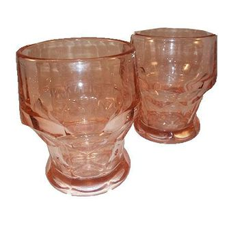 Viking Georgian Honeycomb Thumbprint Pink Tumblers