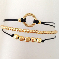 Triple Gold and Black Friendship Bracelet with Adjustable Cord