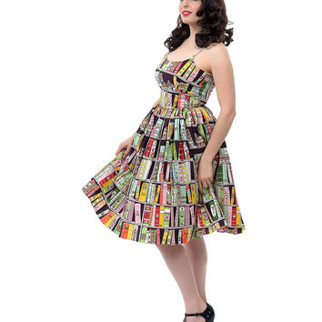Bernie Dexter 1950s Style Chelsea Book Print Dress - Unique Vintage - Prom dresses, retro dresses, retro swimsuits.