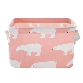 Organizers / Bags - Free Shipping - Cute Canvas Storage Bins / Collapsible - Polar Bear Pink