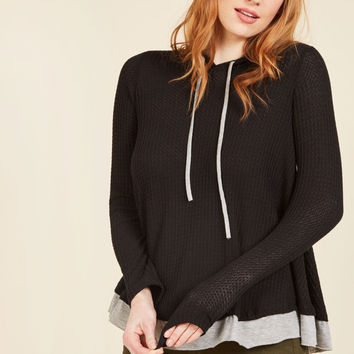 Thoroughly Thermal Hoodie in Black | Mod Retro Vintage Short Sleeve Shirts | ModCloth.com