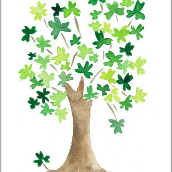 original watercolor painting, The lucky Tree, clover leaf tree , St Patrick Day , Kelly green, Wall art, luck of the Irish