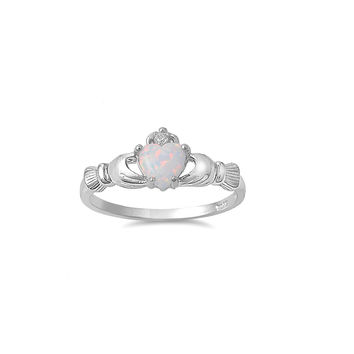 925 Sterling Silver CZ Love Loyalty Friendship Claddagh Lab White Opal Ring 9MM