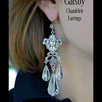 Gatsby Chandelier Earrings, Gibson Girl, Large Crystals, Filigree, Roses, Amethyst Rhinestones