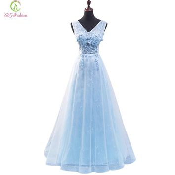 Long Evening Dress The Bride Light Blue Lace Flower V Collar Floor-length Banquet Elegant Formal Party Gown Custom
