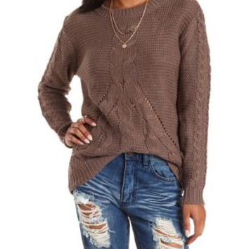 Taupe Chunky Cable Knit Pullover Sweater by Charlotte Russe