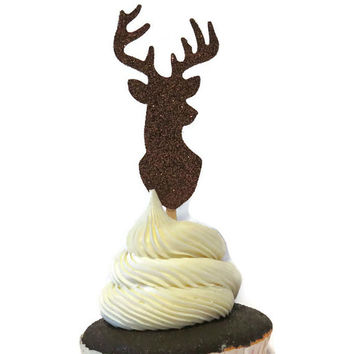 Buck cupcake toppers, 12 CT, deer hunting, woodland wedding decorations, bachelor party, hiking, outdoors, lodge