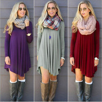 O-neck Long Sleeve Mini Woolen Dress