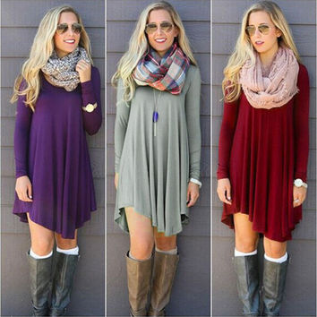 Female Fall & Winter fashion Long Sleeve Mini Woolen Dress