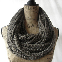 Ready To Ship Large Granite Brown Chunky Scarf Fall Winter Women's Accessory Chain Infinity
