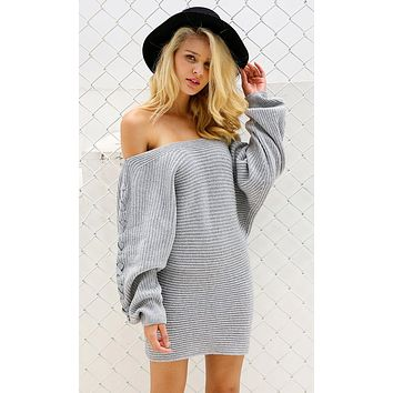 Watch Me Now Heather Gray Long Sleeve Pattern Off The Shoulder Lace Up Pullover Tunic Sweater Mini Dress