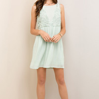 Mint Crinkle Crochet Trim Dress