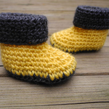 Crochet Baby Booties Sunflower Yellow and Grey - Crochet Baby Boots - Baby Shoes - Baby Clothes - Gender Neutral