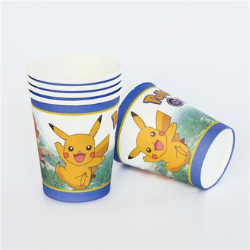 10pcs/lot paper cup Pokemon Go Pikachu party event supplies Decoration Set