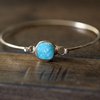 Druzy Cushion Cut Bracelet - Aqua