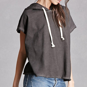 Hooded Boxy Raw-Cut Top