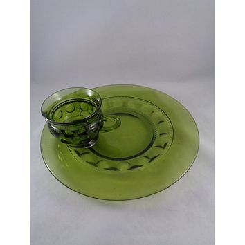 Green King's Crown Tiffin Plates With Matching Cup  S/4
