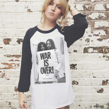 Vintage Style John Lennon War Is Over Baseball Jersey / T-Shirt