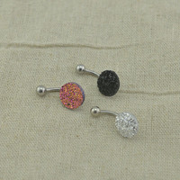 sale-belly button jewelry druzy bellyring 14g belly button piercing,blingbling belly ring