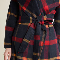 Belted Plaid Coat with Wide Collar