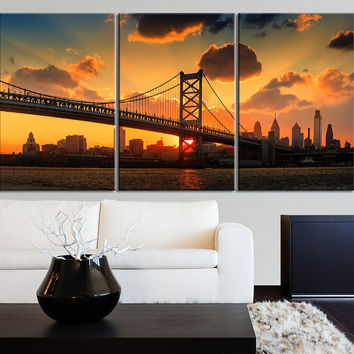 LARGE Wall Art Canvas Print Ben Franklin Bridge and Philadelphia Cityscape - 3 Panel Triptych Philadelphia City Canvas Art Large Wall Art