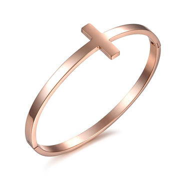 Rose gold plated titanium bangles
