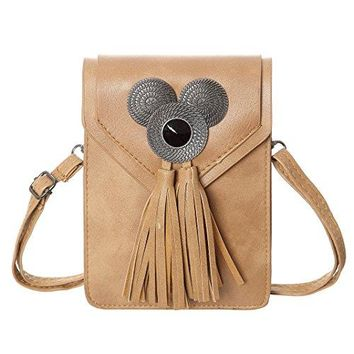 Cell Phone Purse Fashion Women Synthetic Leather Small Crossbody Purse Bags With Tassel