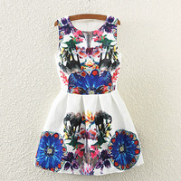 Elephant And Floral Print Sleeveless Pleated Dress