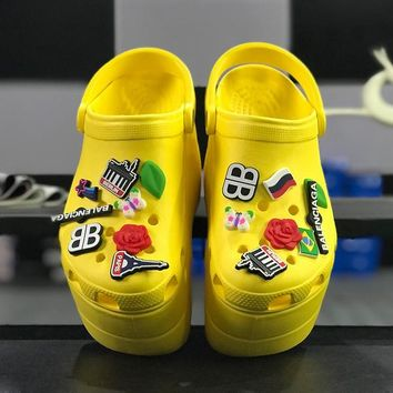 Balenciaga Crocs Yellow Foam Platform Sandals Charms Embellished Resin Wedge Clogs - Best Online Sale