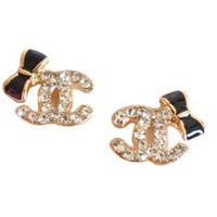 Designer Inspired Crystal Logo with BLACK CUTE BOW Stud Earrings-b (Earring SIze:1/2``*3/8``): Jewelry: Amazon.com