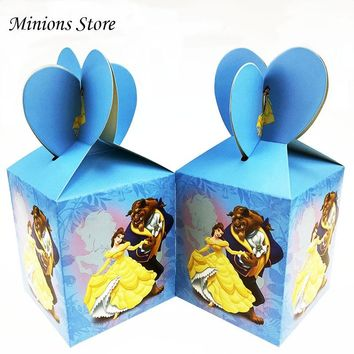 6pc/lot Cartoon Beauty and Beast Candy Box Birthday Party Decoration Baby Shower Kids Favors Paper Gift Box Supplies