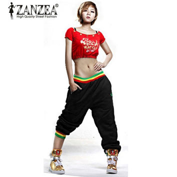 ZANZEA 2016 New Women Casual Hip Hop Harem Baggy Dance Sport Sweat Pants Trousers Slacks Black/Gray Famininas