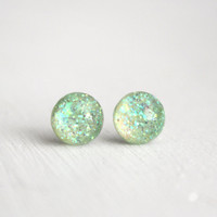 globe earrings in seafoam green sparkles - 8mm - galaxy sparkle stud earrings
